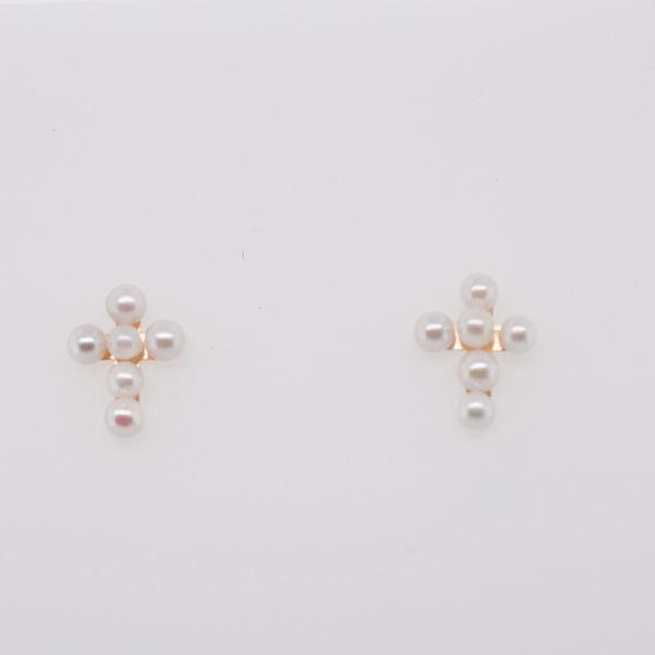 Small Pearl Cross Earrings