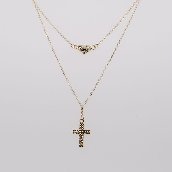 Gold Cross and Heart Layered Necklace
