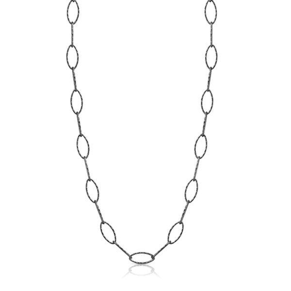 Sterling Silver Black Link Necklace