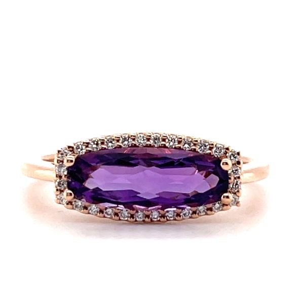 14 kt Rose Gold East-West Amethyst and Diamond Ring