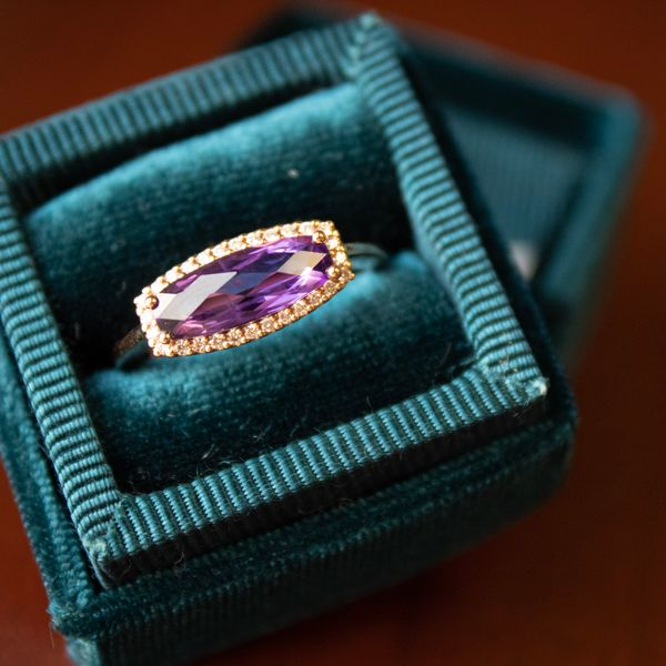 14 kt Rose Gold East-West Amethyst and Diamond Ring  Image 2 Parris Jewelers Hattiesburg, MS