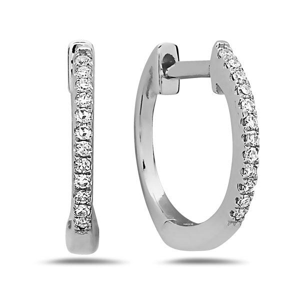 14 kt Small Diamond Hoop Earrings