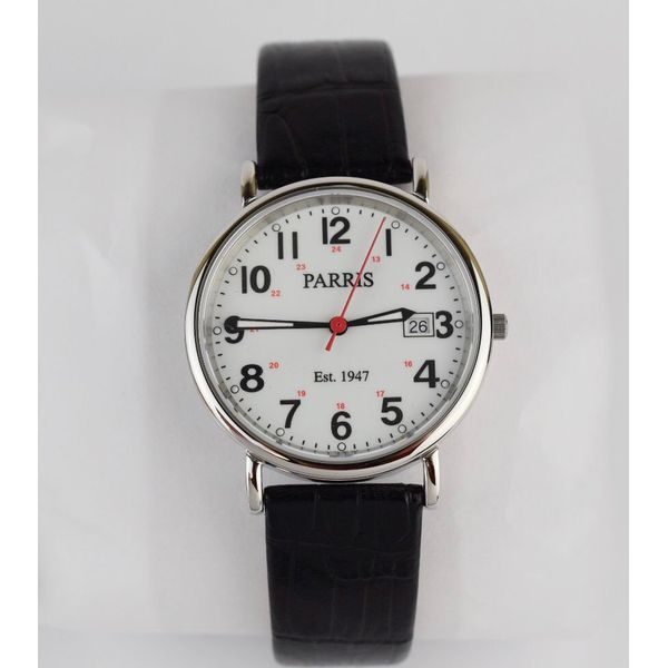 Men's watch with black textured leather strap