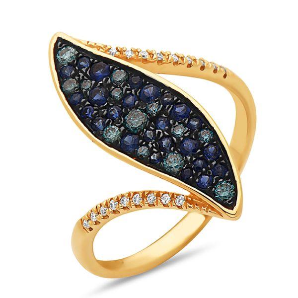 Sapphire & Blue Diamond  Garnet Ring