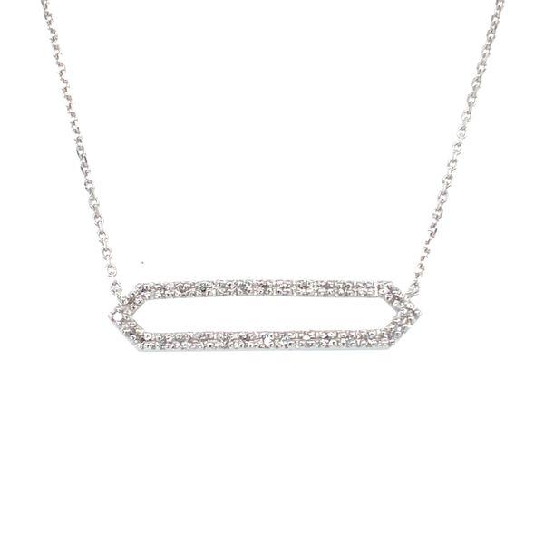 14 kt White Geometric Diamond Necklace