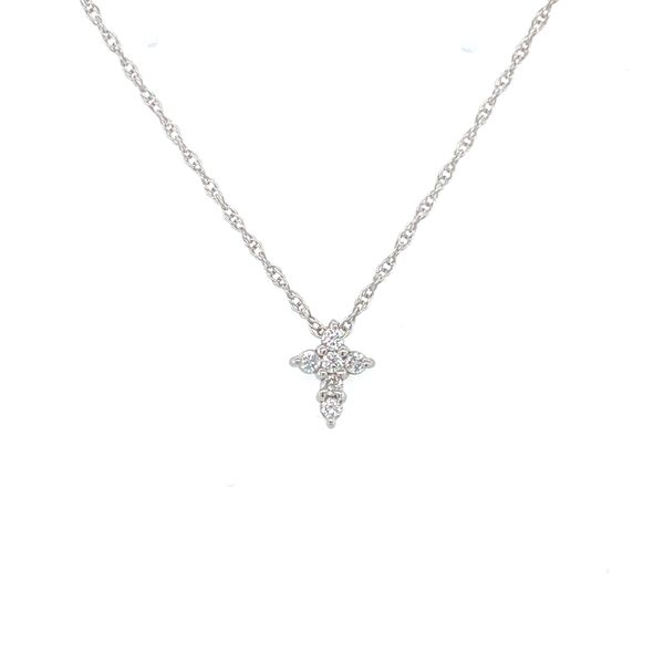 14 kt White Gold Petite Diamond Cross Necklace