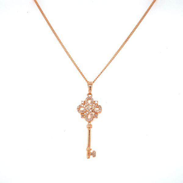 14 kt Rose Gold Diamond Key Necklace