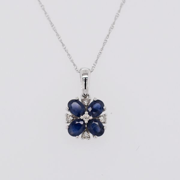 14 kt White Gold Dainty Sapphire and Diamond Necklace