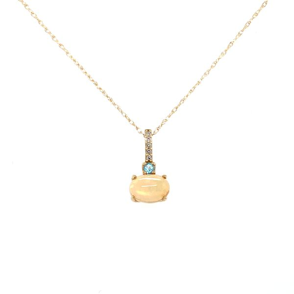 10 kt Yellow Gold Opal and Blue Topaz Necklace