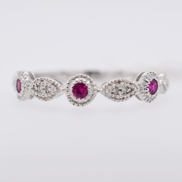 14 kt White Gold Ruby and Diamond Stackable Band