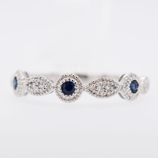 14 kt White Gold Sapphire and Diamond Stackable Band
