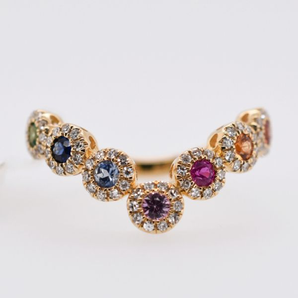 14 kt Yellow Gold Multi-Colored Sapphire and Tsavorite Ring with Diamonds