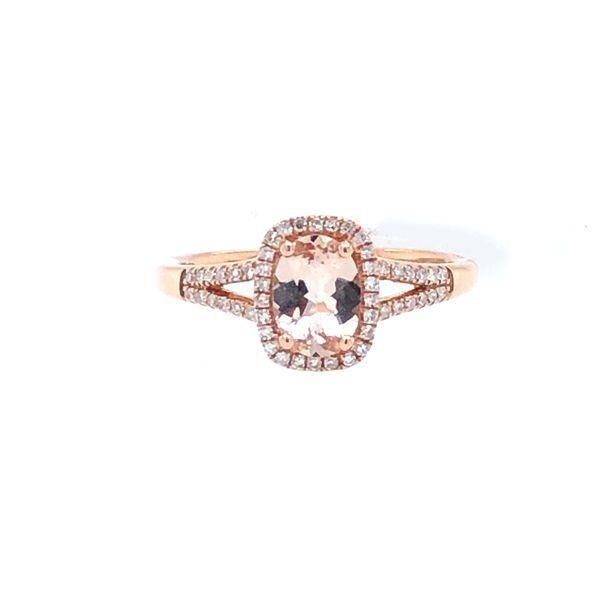 14 kt Rose Gold Morganite and Diamond Ring