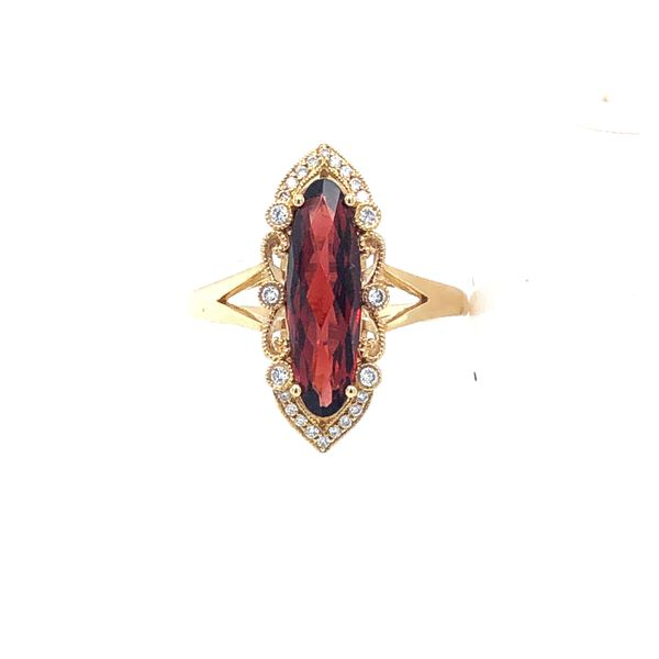 14 kt Yellow Gold Vintage Inspired Garnet Ring