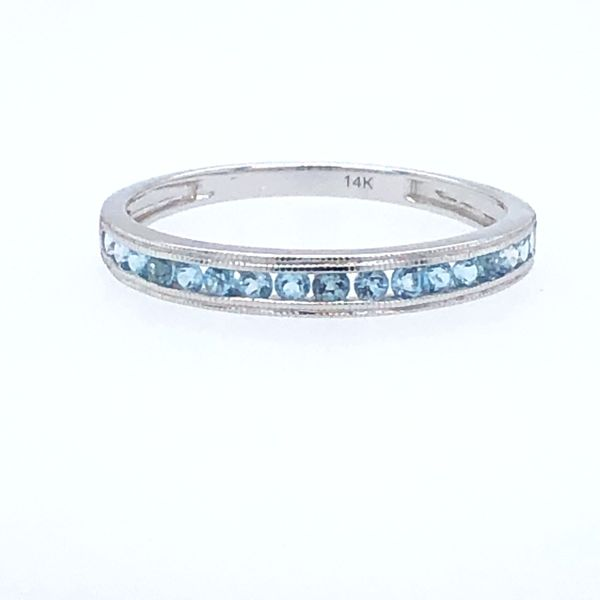 14 kt White Gold Blue Topaz Stackable Band