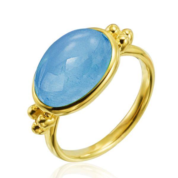 14 kt Yellow Gold Cabochon Aquamarine Ring