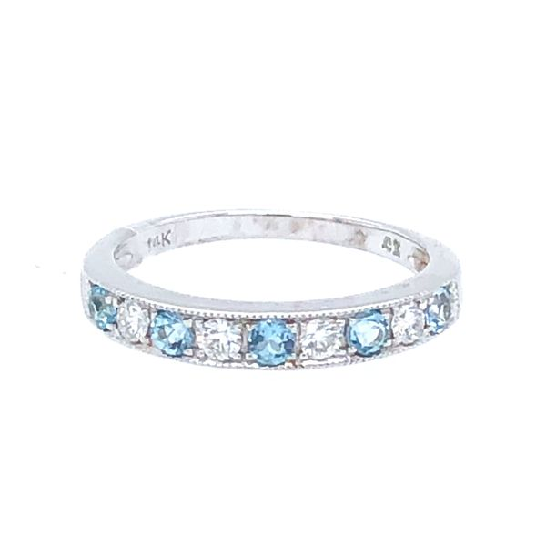 14 kt White Gold Blue Topaz and Diamond Stackable Band