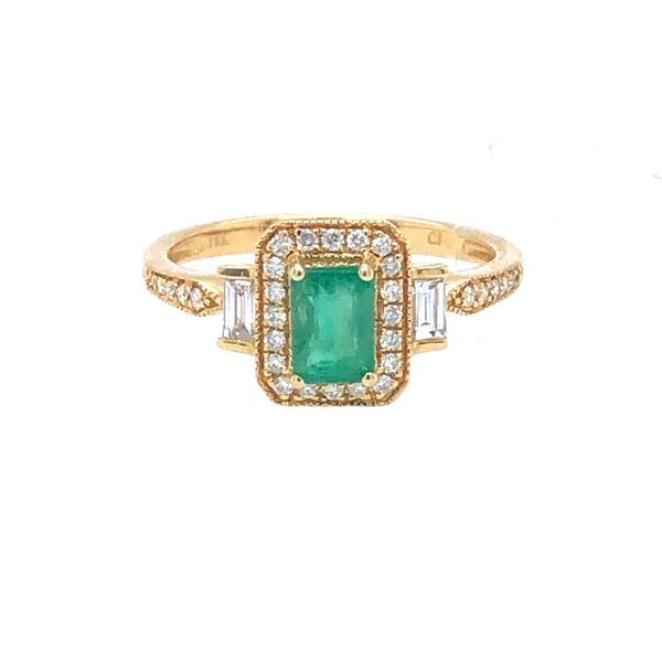 14 kt Yellow Gold Emerald and Diamond Ring