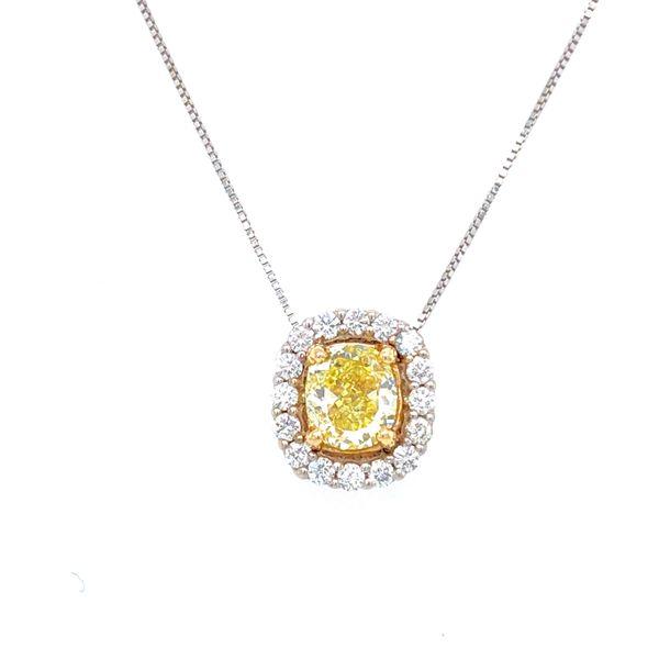 14 kt White Gold Yellow Diamond Necklace
