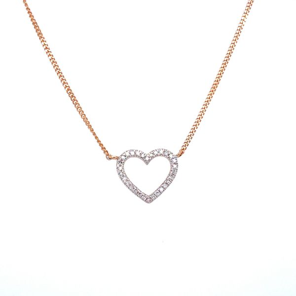 14 kt Rose Gold Diamond Heart Necklace