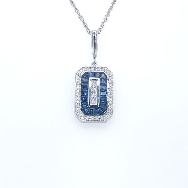 14 kt White Gold Art Deco Style Sapphire and Diamond Necklace