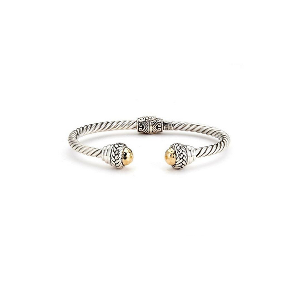 Sterling Silber and 18 kt Yellow Gold Hinged Bangle Bracelet