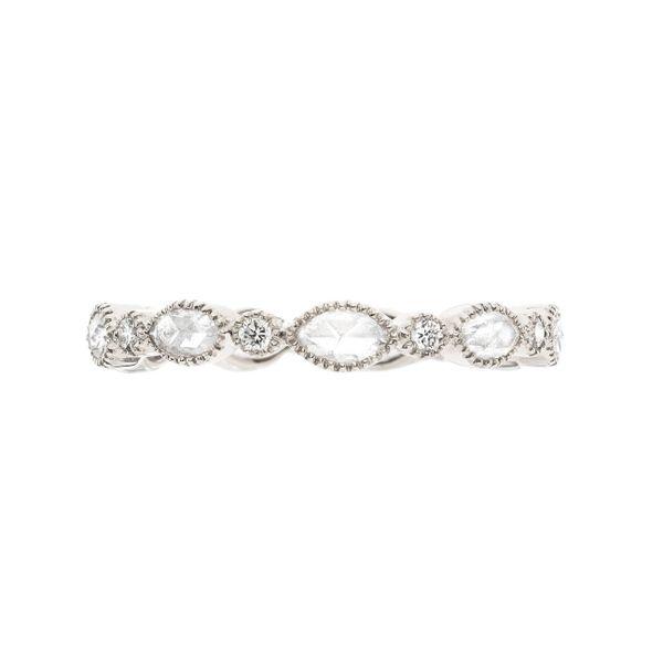 18 kt White Gold Diamond Band with Rose Cut Diamonds