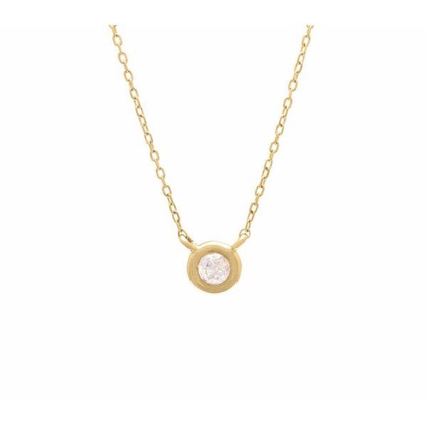 14 kt Yellow Gold Petite Bezel Set Diamond Necklace