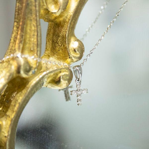 14 kt White Gold Diamond Cross Necklace.                             Image 2 Parris Jewelers Hattiesburg, MS