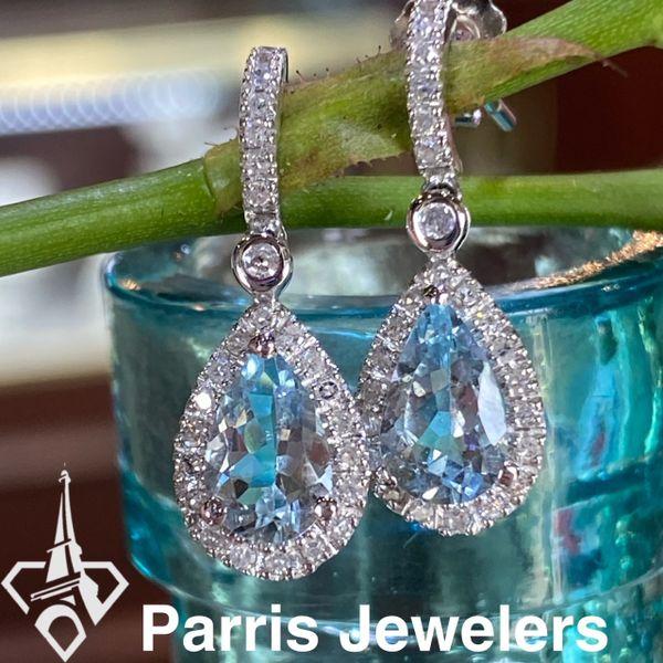 10 kt White Gold Aquamarine Dangle earrings  Image 2 Parris Jewelers Hattiesburg, MS