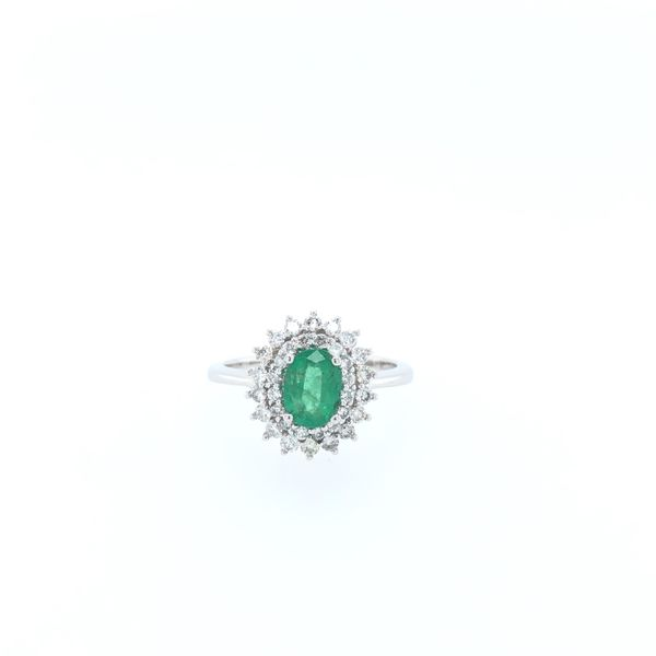 10 kt White Gold Emerald and Diamond Ring