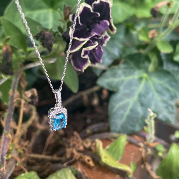 10 kt White Gold Blue Topaz Necklace  with Diamond Accents Image 2 Parris Jewelers Hattiesburg, MS
