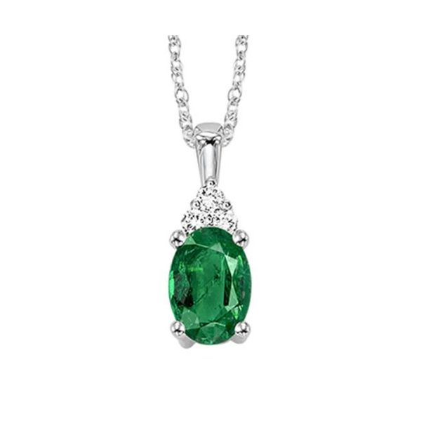 10 kt White Gold Emerald and Diamond Necklace