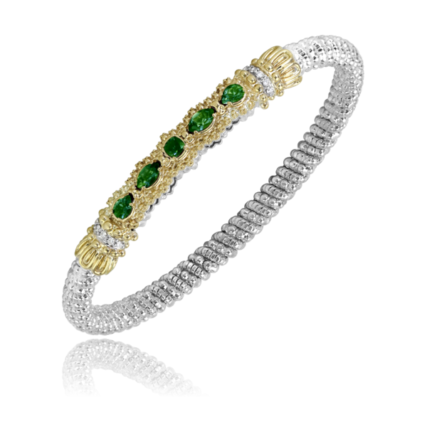 Sterling silver and 14 kt yellow gold 4 mm bracelet by Vahan with gemstones and diamonds