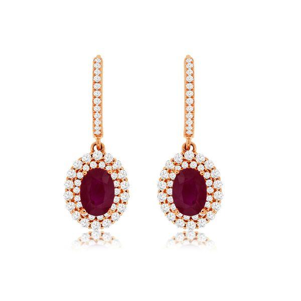 14 kt Rose Gold Ruby and Diamond  Dangle Earrings