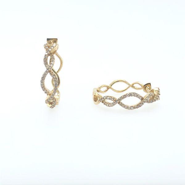 10 kt Yellow Gold Diamond Twist Hoop Earrings