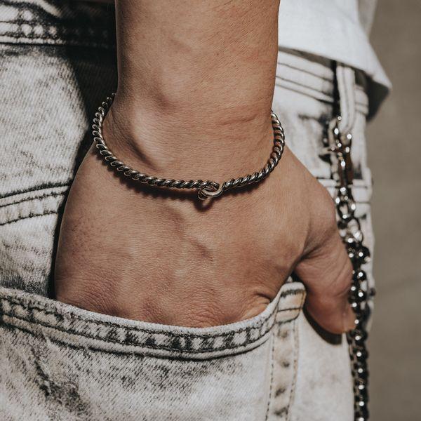 Men's Sterling Silver Rope Cuff Bracelet Image 2 Parris Jewelers Hattiesburg, MS