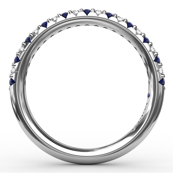 14 kt White Gold Sapphire and Diamond Band Image 2 Parris Jewelers Hattiesburg, MS