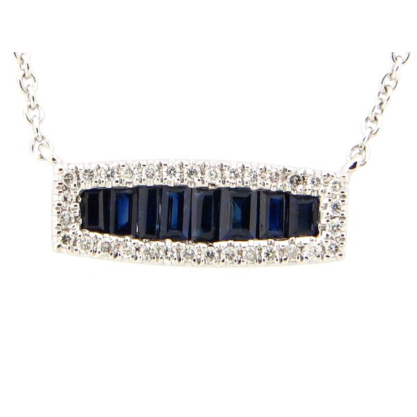 14 kt White Gold Sapphire and Diamond Bar Necklace