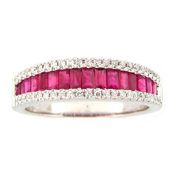 14 kt White Gold Ruby Baguette and Diamond Ring