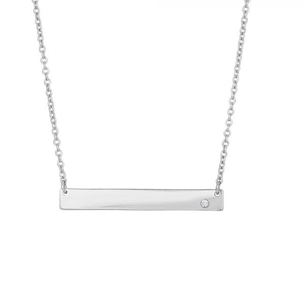 Sterling Silver Bar Necklace with CZ Accent