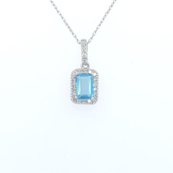 10 kt White Gold Blue Topaz Necklace  with Diamond Accents