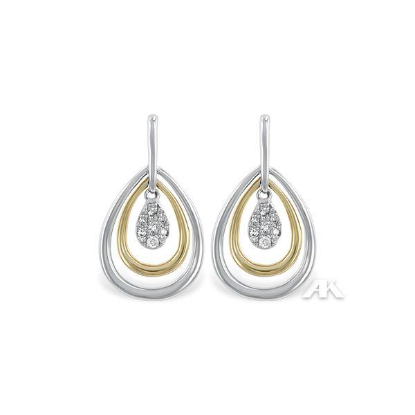 14 kt Two Tone Diamond  Dangle Teardrop Earrings