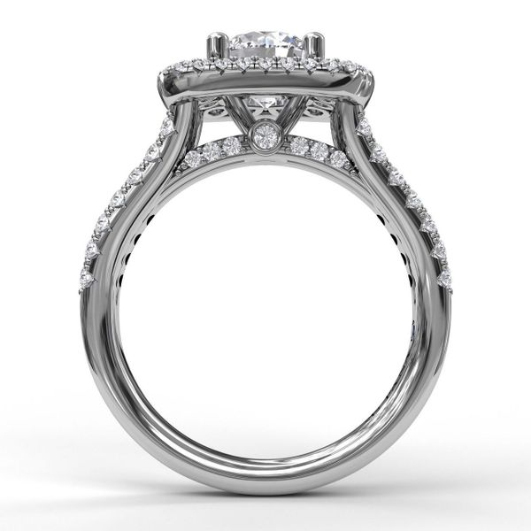 14 kt White Gold Double Halo Engagement Ring