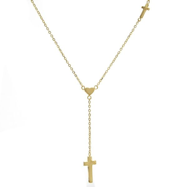 14 kt Yellow Gold Cross and Heart Necklace