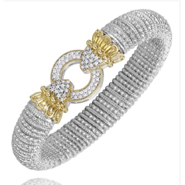 Sterling Silver and 14 kt yellow gold 12 mm bracelet with diamonds by Vahan