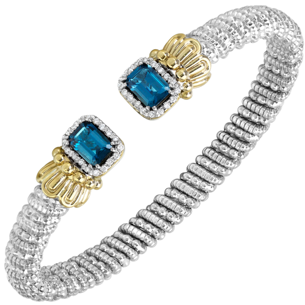 Sterling silver & 14 kt yellow gold bracelet with genstones and diamonds by Vahan