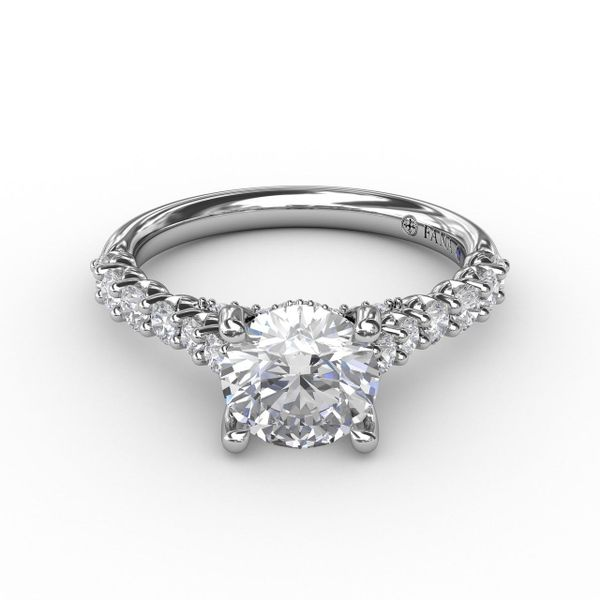 White Gold Contemporary Diamond Solitaire Engagement Ring With Hidden Halo