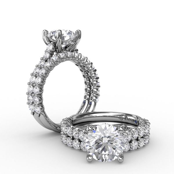 White Gold Hidden Halo Engagement Ring with Matching Band Available