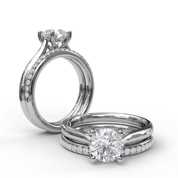 White Gold Round Cut Solitaire With Decorated Bridge
